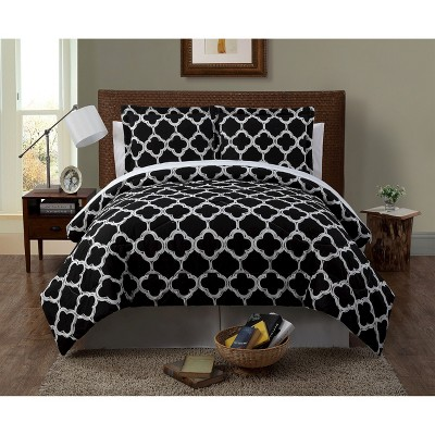 Black&White Geometric Galaxy Complete Bedding Set (Queen)- 8 Piece