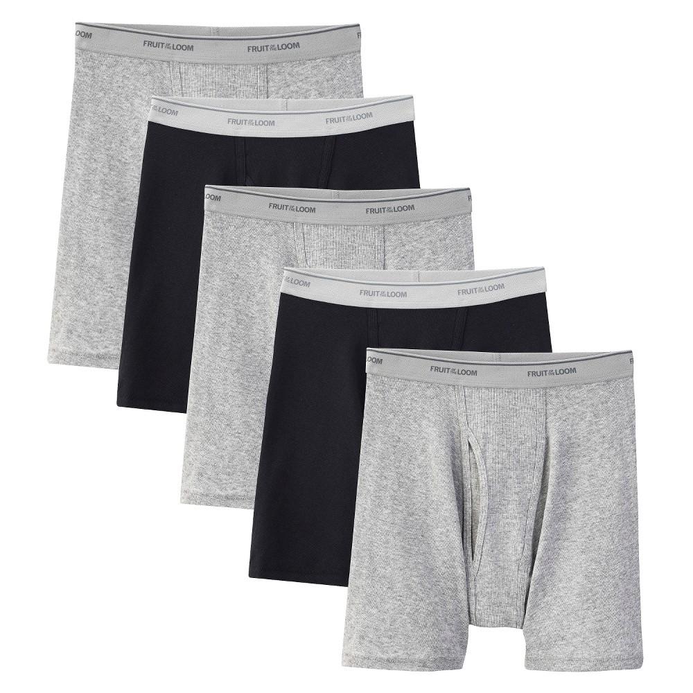 Fruit of the Loom Men's 5pk Boxer Briefs - Black/Gray L