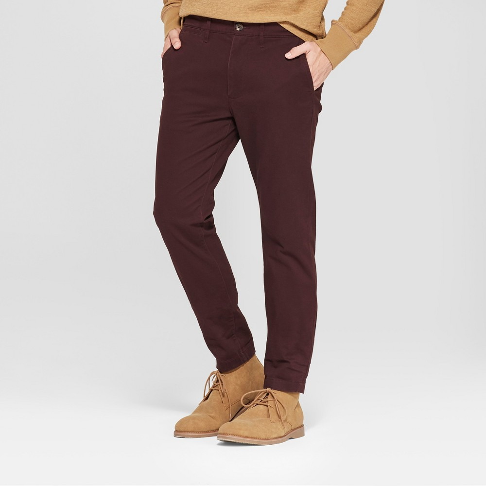 Men's Skinny Fit Hennepin Chino Pants - Goodfellow & Co Deep Purple 42x34, Red