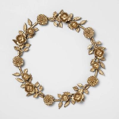 17  Decorative Cast Brass Floral Wreath Gold - Opalhouse™