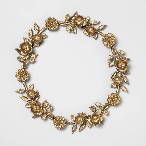 "17"" Decorative Cast Brass Floral Wreath Gold - Opalhouse™ - image 1 of 2"