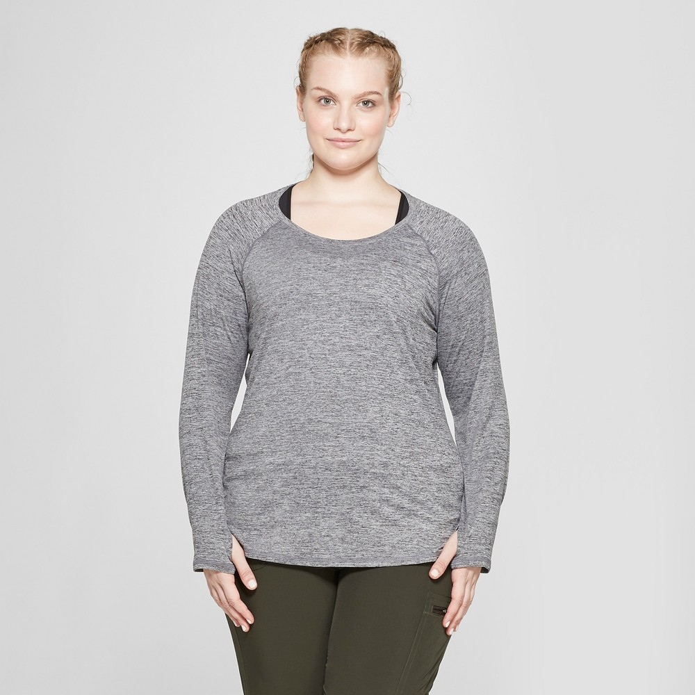 Women's Plus Size Long Sleeve Soft T-Shirt- C9 Champion Black Heather 1X
