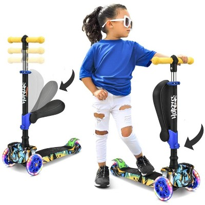Hurtle ScootKid 3 Wheel Toddler Child Mini Ride On Toy Tricycle Scooter with Adjustable Handlebar, Foldable Seat, and LED Light Up Wheels, Graffiti