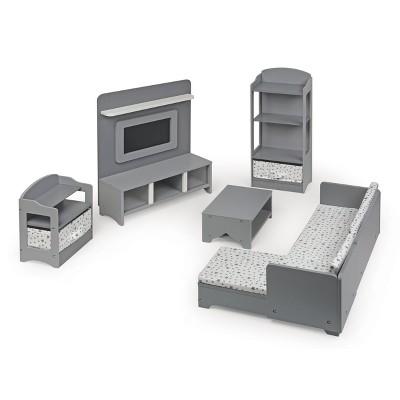 """Media Room Furniture Set for 18"""" Dolls - Gray/White"""