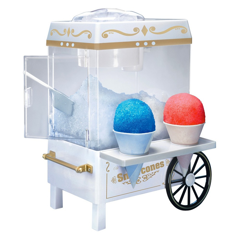Snow Cone Maker, White, Snow Cone Maker Prepare mouth-watering frozen treats in no time with the snow cone maker. It has a stainless steel blade that crushes solid ice into snow for making slushies, smoothies, snow cones, yogurt snow, cold drinks and more. This machine holds up to 8 cups of ice. It has a convenient side tray that easily accommodates 2 snow cones. This carnival snow cone maker is great for parties or any occasion. It comes with an instruction manual for ease of use. This snow cone machine can be rinsed with water for hassle-free maintenance. Color: White.