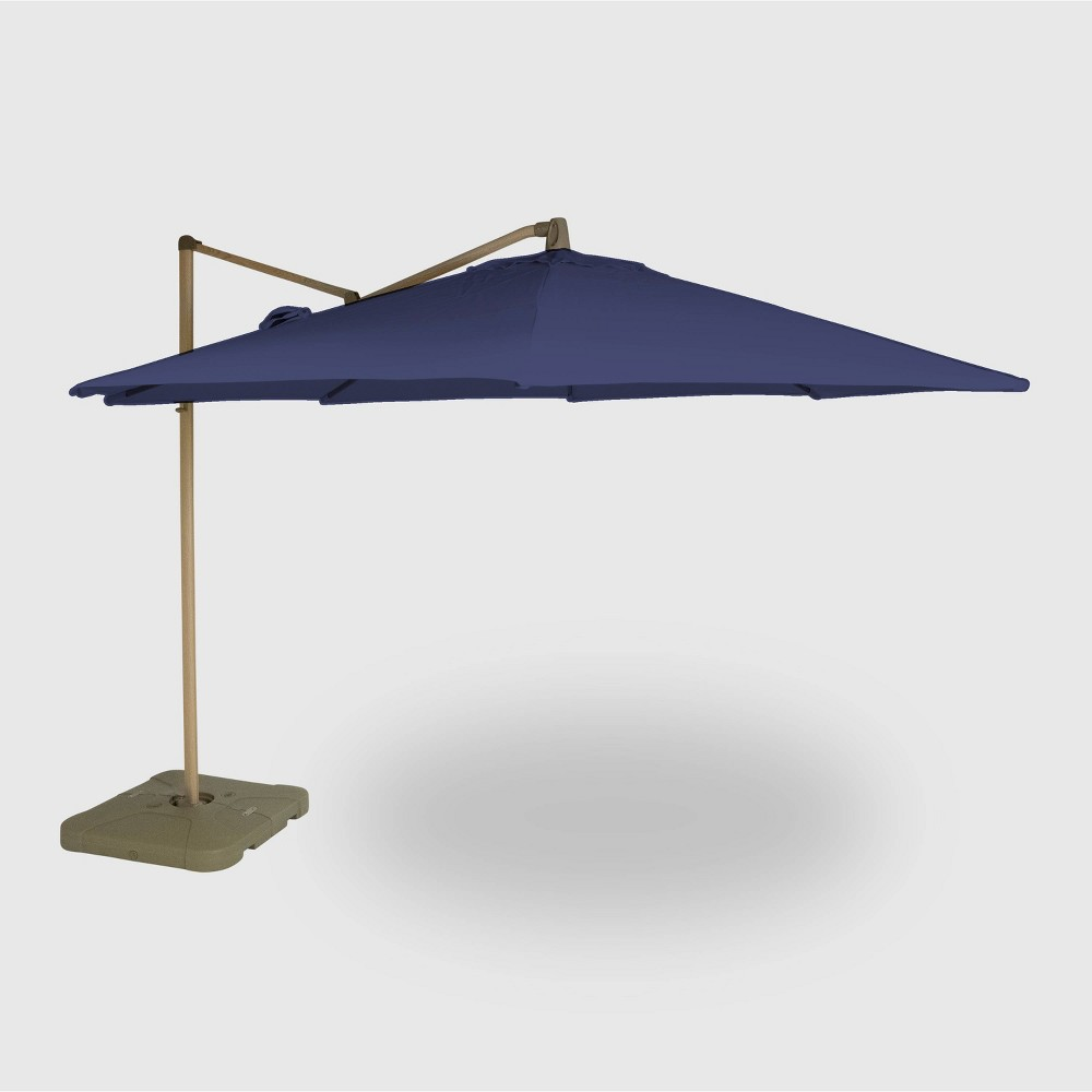 Image of 11' Offset Patio Umbrella Navy - Light Wood Pole - Threshold , Blue