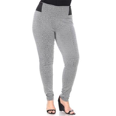 Women's Plus Size Jacquard Slim Pants - White Mark
