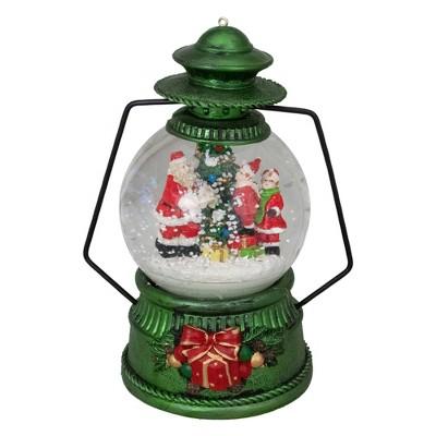 """Northlight 8"""" Santa Claus and Kids By Christmas Tree Lantern Snow Globe"""