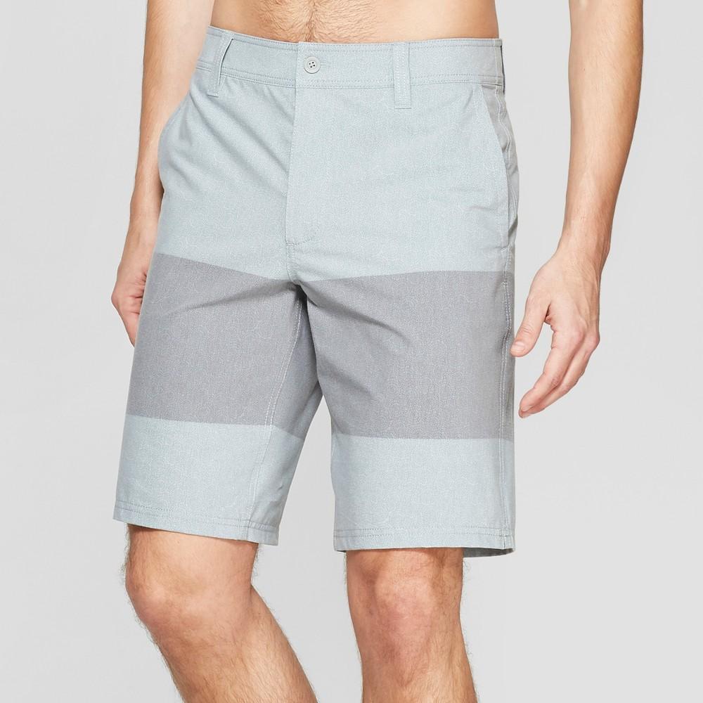 Men's 10.5 Striped Hybrid Swim Shorts - Goodfellow & Co Gray 32