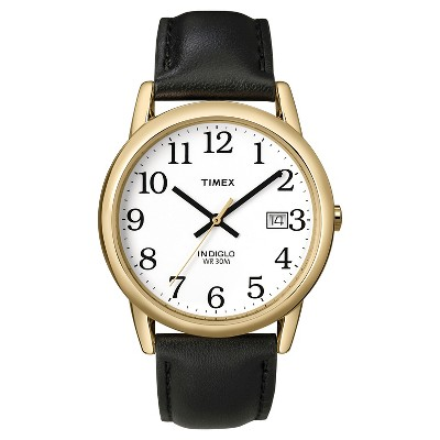 Men's Timex Easy Reader Watch with Leather Strap - Gold/Black T2H2919J