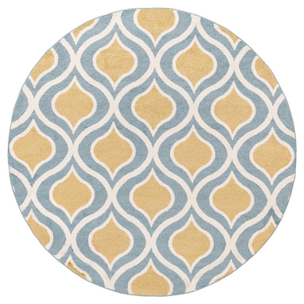 Mustard (Yellow) Abstract Tufted Round Area Rug - (7'10 Round) - Surya