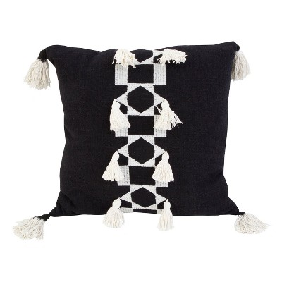 Ida Embroidered Cotton Slub Square Throw Pillow with Tassel - Décor Therapy