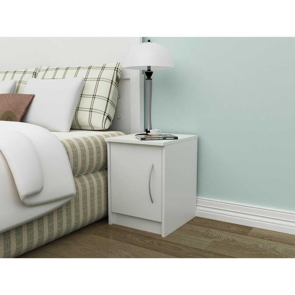 Image of Addison 1 Door Nightstand Off-White - Loft 607, White Black