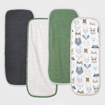 Baby Boys' 4pk Little Cub Burp Cloth Set - Cloud Island™ Green