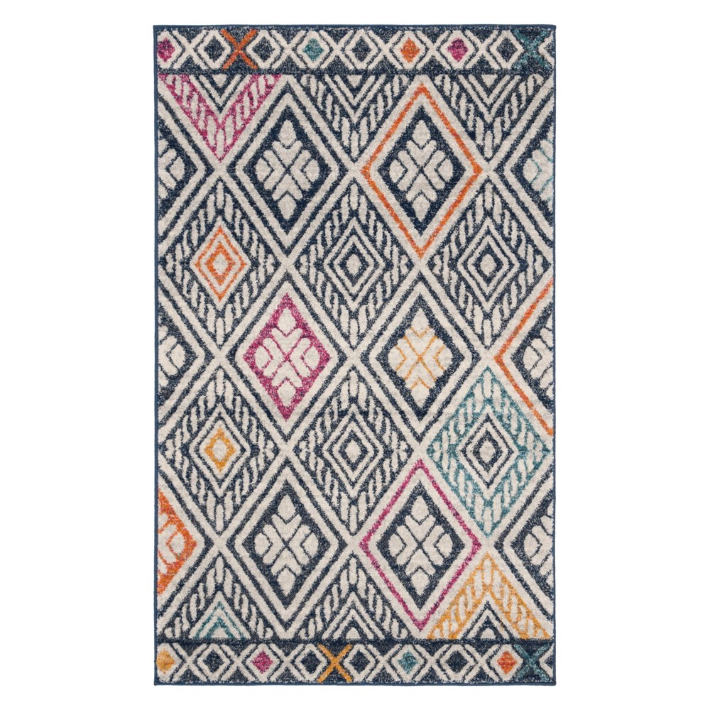 3X5 Geometric Design Loomed Accent Rug Navy/Ivory - Safavieh Promos
