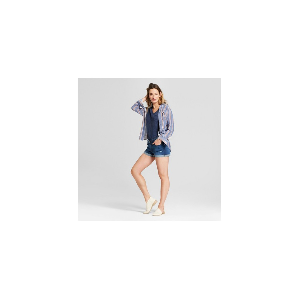 Women's Monterey Pocket V-Neck Short Sleeve T-Shirt - Universal Thread Navy (Blue) L
