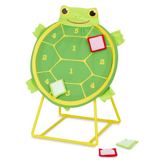 Melissa & Doug Sunny Patch Tootle Turtle Target Toss Game With 4 Self-Stick Bean Bags image number null