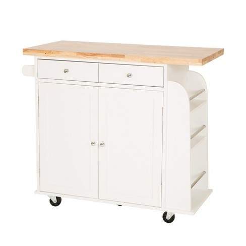 Large Wood Top Kitchen Island White - Glitzhome - image 1 of 9