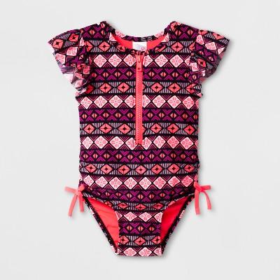 Baby Girls' Shapes One Piece Swimsuit - Cat & Jack™ Black 9M