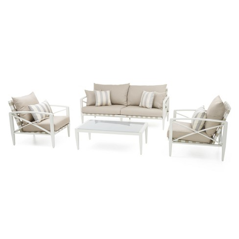 Knoxville 4pc Metal Patio Conversation Set - Cream/Slate Gray - RST Brands - image 1 of 8