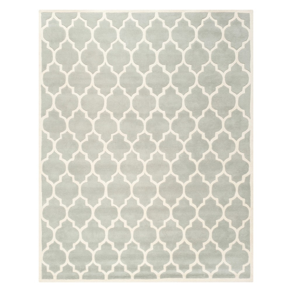 8'X10' Quatrefoil Design Tufted Area Rug Gray/Ivory - Safavieh Product Image