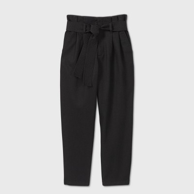 Women's Tie Waist Paperbag Pants - A New Day™ Black 6