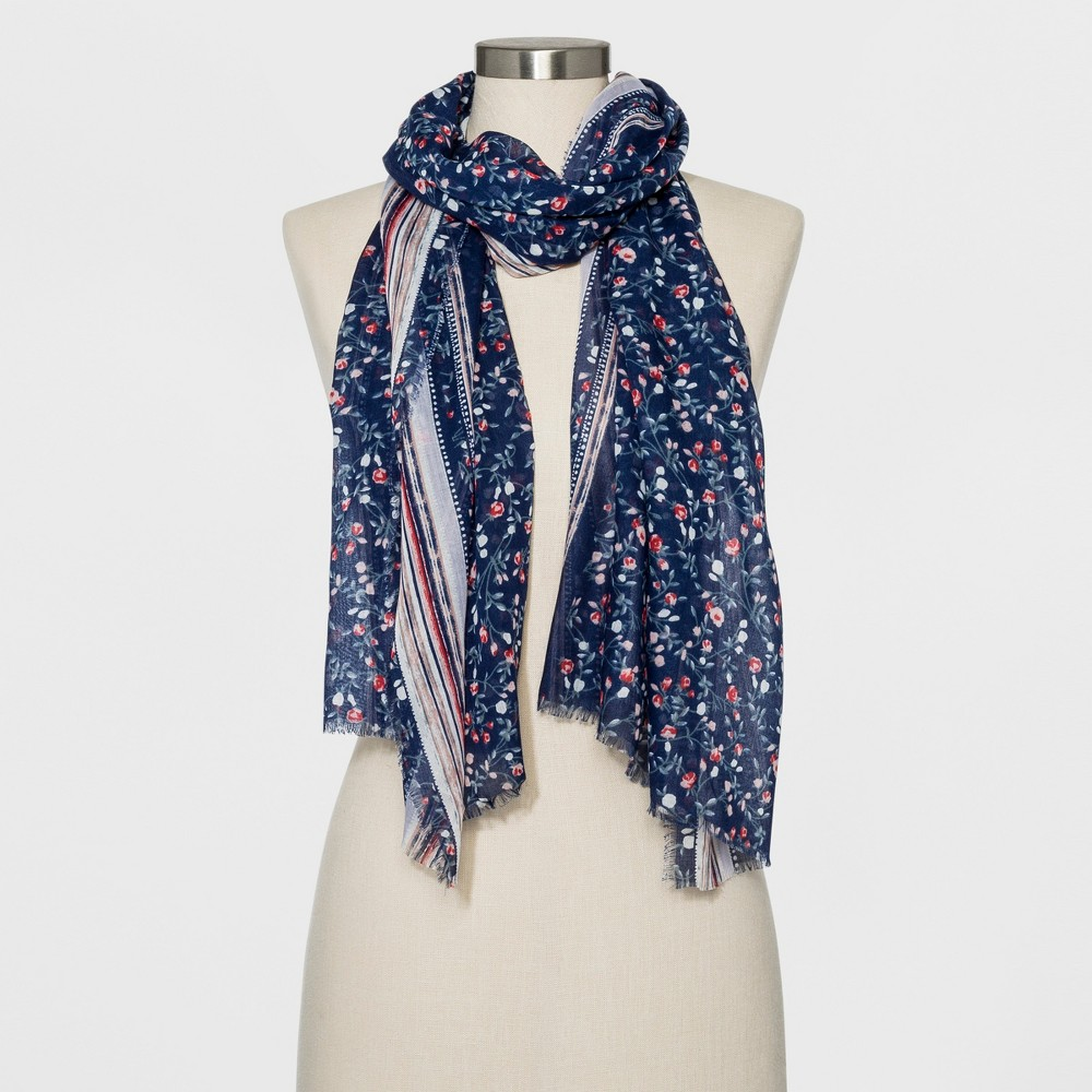 Image of Collection XIIX Women's Floral Print Oblong Scarf - Navy, Size: Small, Blue