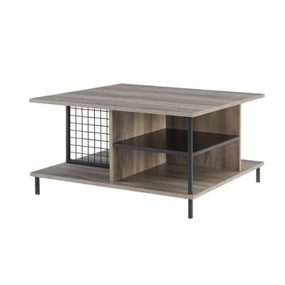 "30"" Metal and Wood Square Coffee Table - Saracina Home"