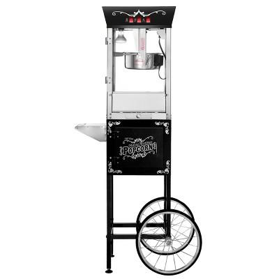 8 Ounce Antique Style Popcorn Machine - Electric Countertop Popcorn Maker Cart (Black)