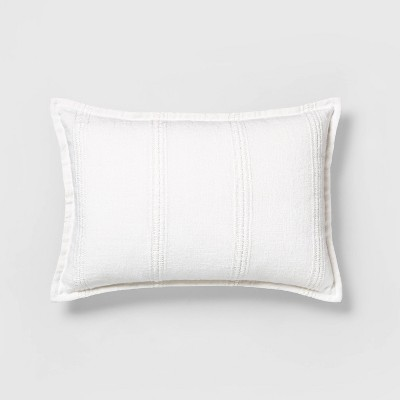 "14"" x 20"" Textured Stripe Lumbar Pillow Sour Cream - Hearth & Hand™ with Magnolia"