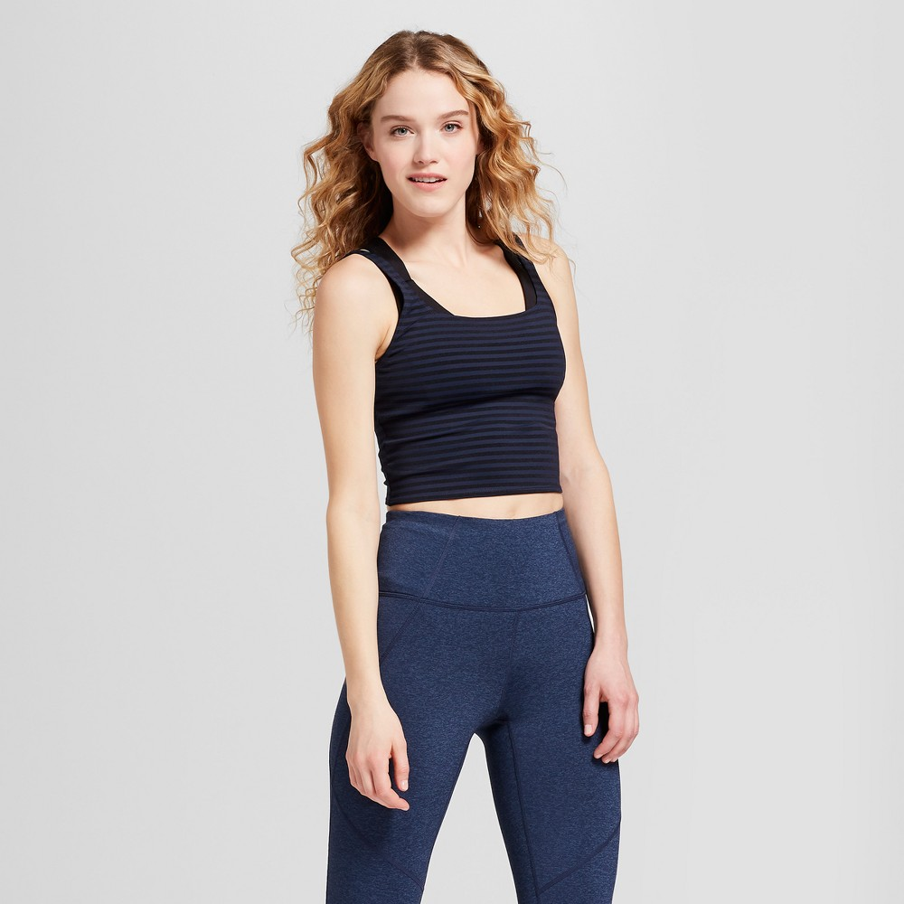 Women's Tonal Striped Crop Top - JoyLab Navy (Blue) XS