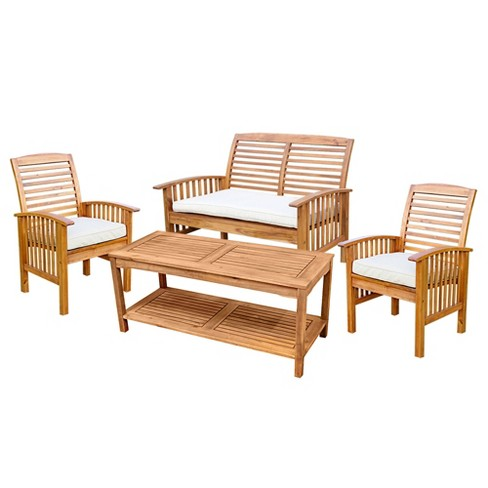 4pc Acacia Wood Patio Conversation Set w/ Cushions - Saracina Home - image 1 of 4
