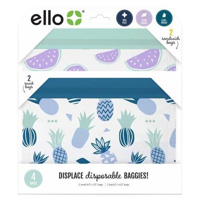 Ello 4pk Zip Food Storage Bags - Fruits