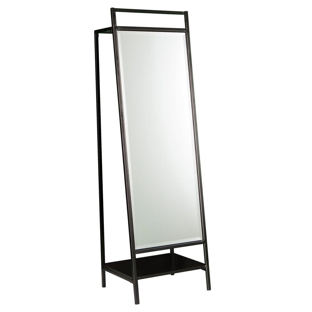 Drace Mirror/Hidden Coat Rack - Black - Aiden Lane