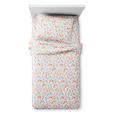 Twin Mermaids Sheet Set White & Orange - Pillowfort™
