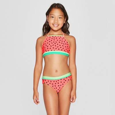 Girls' Seeds And Stripes Bikini   Cat &Amp; Jack™ Coral by Cat & Jack