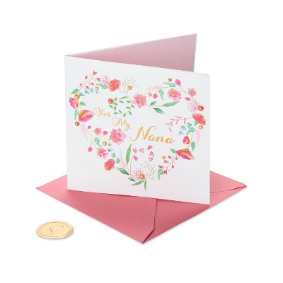 Mothers Day Greeting Card Floral Heart with Text - PAPYRUS
