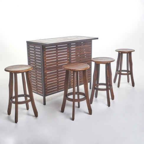 5pc Pike Acacia Bar Set Dark Brown/Metal - Christopher Knight Home - image 1 of 6