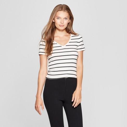 12350d7b8e35 Women's Striped Short Sleeve Fitted V-Neck T-Shirt - A New Day™ White/Black  : Target