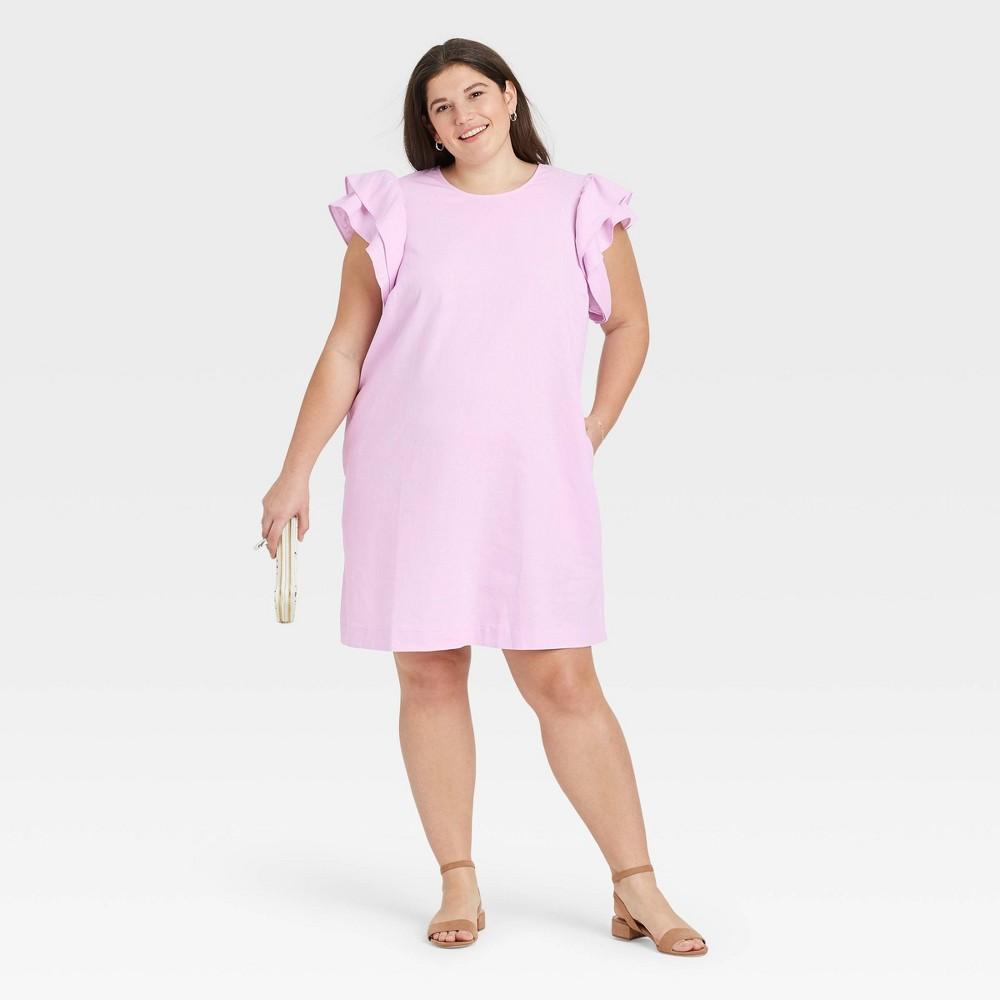 Women 39 S Plus Size Ruffle Short Sleeve Dress A New Day 8482 Light Pink 1x