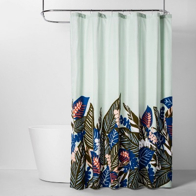 Creeping Leaves Shower Curtain Mint - Room Essentials™
