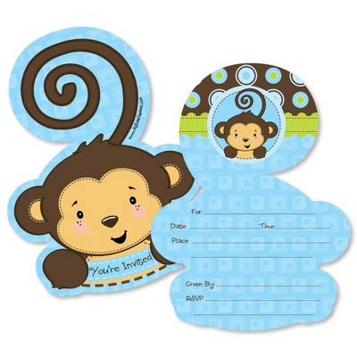 Big Dot of Happiness Blue Monkey Boy - Shaped Fill-in Invitations - Baby Shower or Birthday Party Invitation Cards with Envelopes - Set of 12