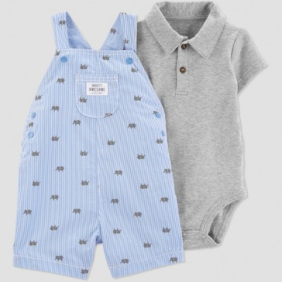 Baby Boys' 2pc Stripe Elephant Shortall Set - Just One You® made by carter's Blue/Gray 3M