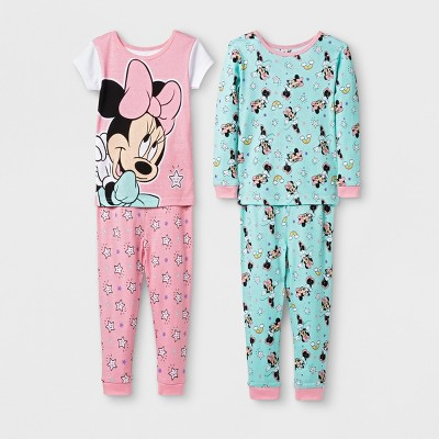 Toddler Girls' Minnie Mouse 4pc Pajama Set - Pink 2T