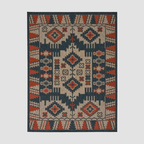 Ellenton Southwest Outdoor Rug Blue/Rust - Christopher Knight Home - image 1 of 5