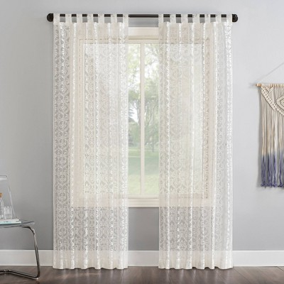 "63""x50"" Hope Macrame Lace Sheer Tab Top Curtain Panel Ivory - No. 918"