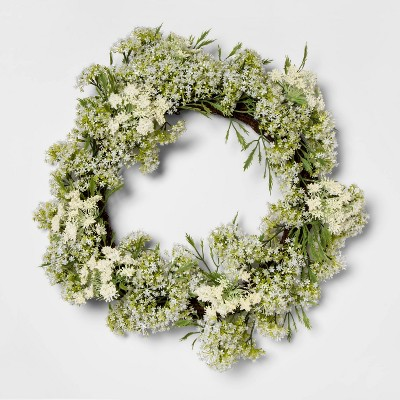 "18"" Artificial Baby's Breath Wreath White - Threshold™"