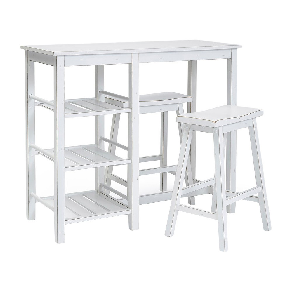 Image of Breakfast Club Counter Table with 2 Stools Distressed Chalk White - Progressive