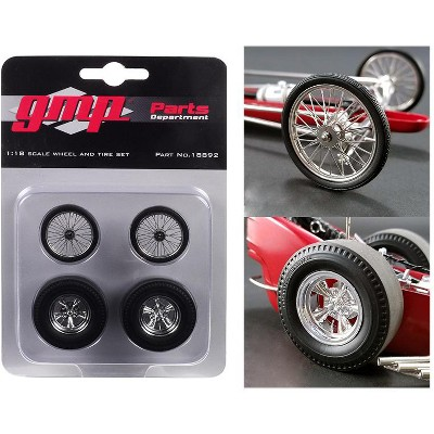 """Wheels and Tires Set of 4 pieces from """"Tommy Ivo's Barnstormer"""" Vintage Dragster 1/18 Model by GMP"""