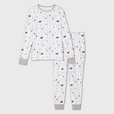 Men's Cabin Print Matching Family Pajama Set - White L